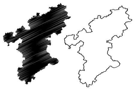 Stormarn district (Federal Republic of Germany, rural district, Free State of Schleswig-Holstein, Slesvig Holsten) map vector illustration, scribble sketch Stormarn map Ilustração
