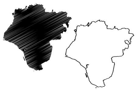 Steinburg district (Federal Republic of Germany, rural district, Free State of Schleswig-Holstein, Slesvig Holsten) map vector illustration, scribble sketch Steinburg map