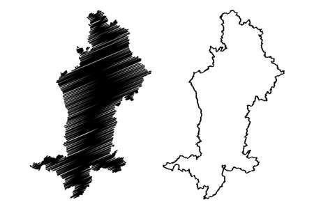Swabia (Federal Republic of Germany, Administrative division, Region Free State of Bavaria) map vector illustration, scribble sketch Swabia map Ilustração