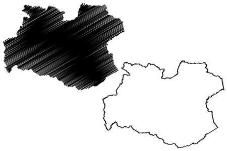 Soest district (Federal Republic of Germany, State of North Rhine-Westphalia, NRW, Arnsberg region) map vector illustration, scribble sketch Soest map