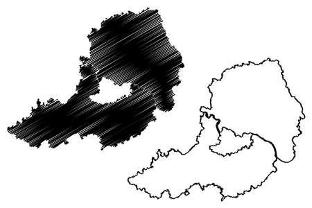 Straubing-Bogen district (Federal Republic of Germany, rural district Lower Bavaria, Free State of Bavaria) map vector illustration, scribble sketch Straubing Bogen map