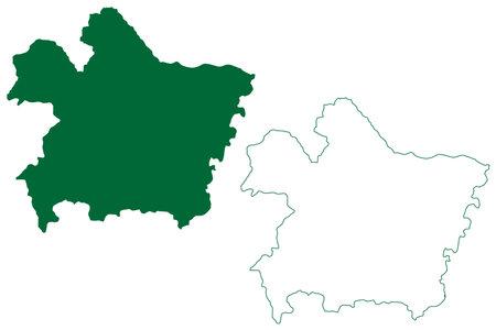 Perambalur district (Tamil Nadu State, Republic of India) map vector illustration, scribble sketch Perambalur map Ilustração