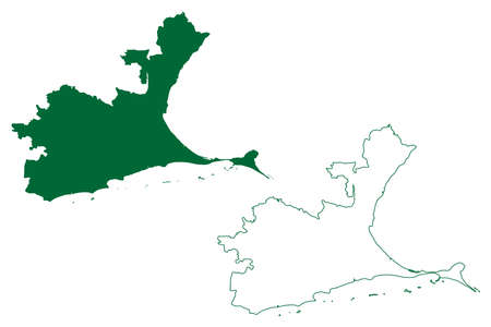 Ramanathapuram district (Tamil Nadu State, Republic of India) map vector illustration, scribble sketch Ramnad map