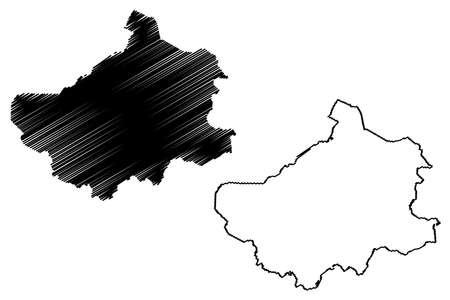 Steinfurt district (Federal Republic of Germany, State of North Rhine-Westphalia, NRW, Munster region) map vector illustration, scribble sketch Steinfurt map