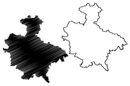 Sigmaringen district (Federal Republic of Germany, rural district, Baden-Wurttemberg State) map vector illustration, scribble sketch Sigmaringen map