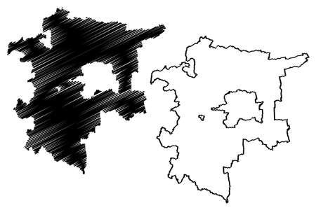 Sudliche Weinstrasse district (Federal Republic of Germany, State of Rhineland-Palatinate) map vector illustration, scribble sketch Suedliche Weinstrasse map