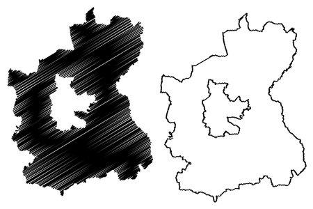 Spree-Neisse district (Federal Republic of Germany, rural district, State of Brandenburg) map vector illustration, scribble sketch Spree Neisse map Ilustração