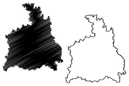 Stuttgart region (Federal Republic of Germany, Baden-Wurttemberg State) map vector illustration, scribble sketch Stuttgart map