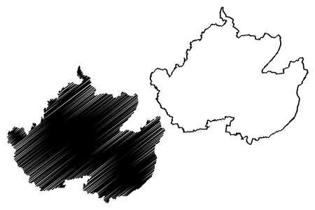 Uckermark district (Federal Republic of Germany, rural district, State of Brandenburg) map vector illustration, scribble sketch Uckermark map