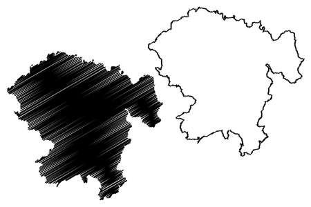 Vogelsbergkreis district (Federal Republic of Germany, rural district Giessen region, State of Hessen, Hesse, Hessia) map vector illustration, scribble sketch Vogelsbergkreis map Ilustração