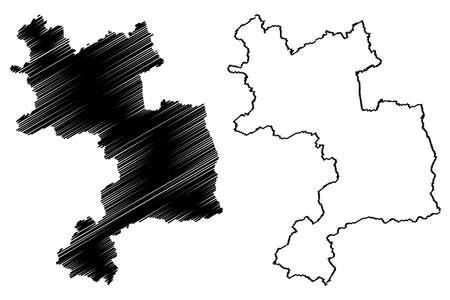 Unna district (Federal Republic of Germany, State of North Rhine-Westphalia, NRW, Arnsberg region) map vector illustration, scribble sketch Unna map