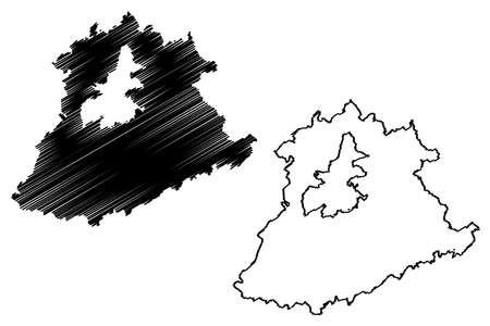 Trier-Saarburg district (Federal Republic of Germany, State of Rhineland-Palatinate) map vector illustration, scribble sketch Trier Saarburg map