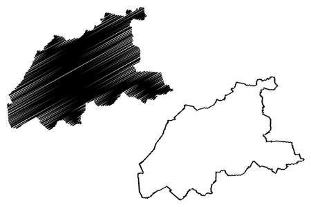 Viersen district (Federal Republic of Germany, State of North Rhine-Westphalia, NRW, Dusseldorf region) map vector illustration, scribble sketch Viersen map