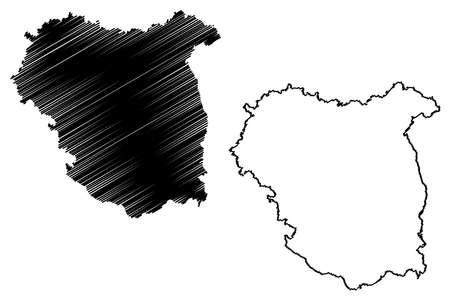 Tubingen region (Federal Republic of Germany, Baden-Wurttemberg State) map vector illustration, scribble sketch Tubingen map