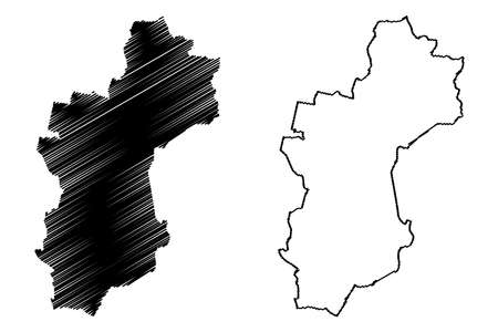 Vechta district (Federal Republic of Germany, rural district, State of Lower Saxony) map vector illustration, scribble sketch Vechta map Ilustração