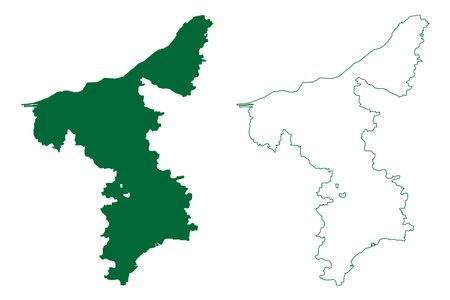 Thanjavur district (Tamil Nadu State, Republic of India) map vector illustration, scribble sketch Thanjavur map Ilustração