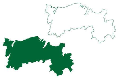 Salem district (Tamil Nadu State, Republic of India) map vector illustration, scribble sketch Salem map Ilustração