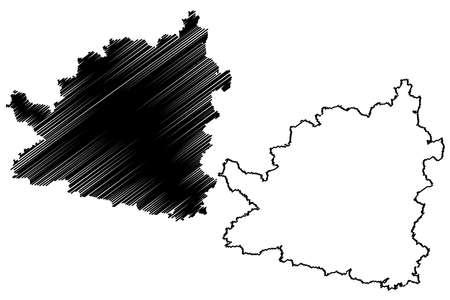 Tubingen district (Federal Republic of Germany, rural district, Baden-Wurttemberg State) map vector illustration, scribble sketch Tubingen map