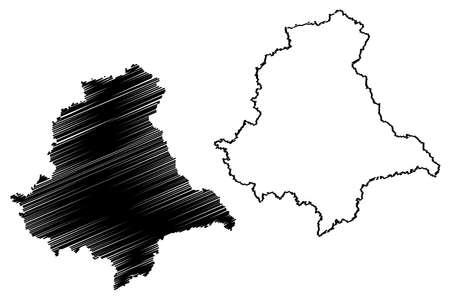 Upper Palatinate (Federal Republic of Germany, Administrative division, Region Free State of Bavaria) map vector illustration, scribble sketch Upper Palatinate map Ilustração