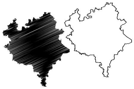 Vogtlandkreis district (Federal Republic of Germany, rural district, Free State of Saxony) map vector illustration, scribble sketch Vogtlandkreis map