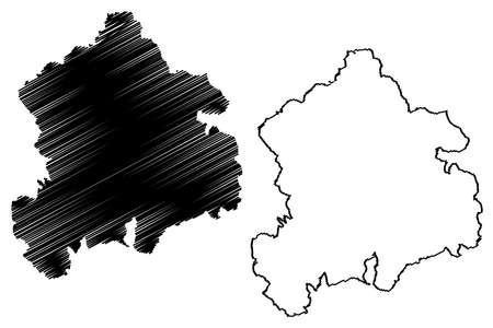 Tuttlingen district (Federal Republic of Germany, rural district, Baden-Wurttemberg State) map vector illustration, scribble sketch Tuttlingen map