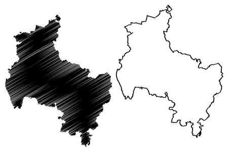 Verden district (Federal Republic of Germany, rural district, State of Lower Saxony) map vector illustration, scribble sketch Verden map Ilustração