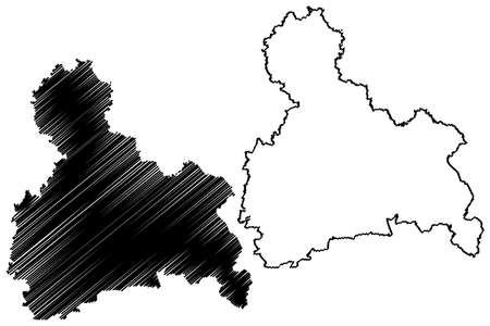 Upper Bavaria (Federal Republic of Germany, Administrative division, Region Free State of Bavaria) map vector illustration, scribble sketch Upper Bavaria map
