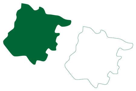 Tenkasi district (Tamil Nadu State, Republic of India) map vector illustration, scribble sketch Tenkasi map