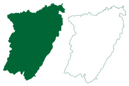 Theni district (Tamil Nadu State, Republic of India) map vector illustration, scribble sketch Theni map Ilustração