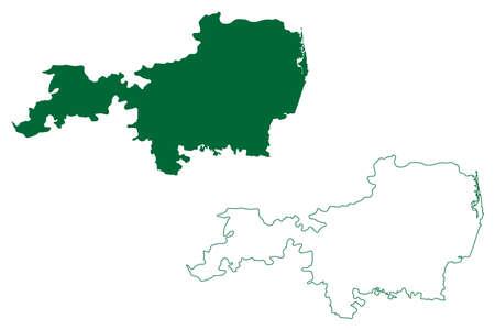 Tiruvallur district (Tamil Nadu State, Republic of India) map vector illustration, scribble sketch Thiruvallur map Ilustração