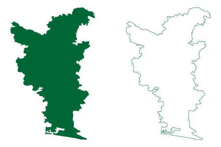 Tiruvarur district (Tamil Nadu State, Republic of India) map vector illustration, scribble sketch Tiruvarur map