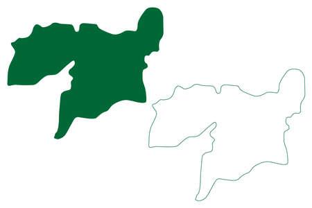 Vellore district (Tamil Nadu State, Republic of India) map vector illustration, scribble sketch Vellore map Ilustração