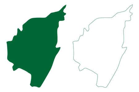 Tirupathur district (Tamil Nadu State, Republic of India) map vector illustration, scribble sketch Tirupattur map