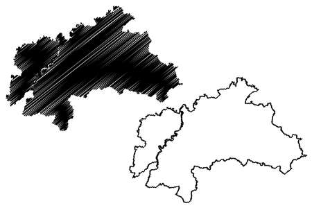 Weilheim-Schongau district (Federal Republic of Germany, rural district Upper Bavaria, Free State of Bavaria) map vector illustration, scribble sketch Weilheim Schongau map Ilustração