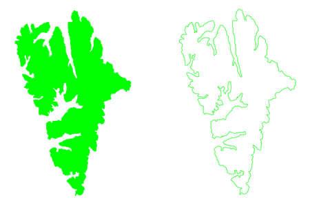 Spitsbergen island (Kingdom of Norway, Svalbard) map vector illustration, scribble sketch West Spitsbergen or Spitzbergen map