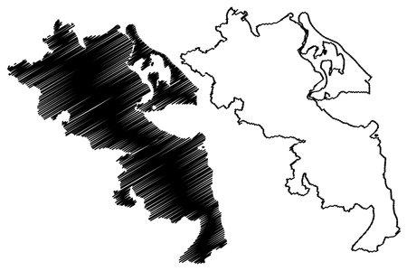 Vorpommern-Greifswald district (Federal Republic of Germany, rural district, State of Mecklenburg-Vorpommern, Western Pomerania or West) map vector illustration, scribble sketch Vorpommern Greifswald map Ilustração