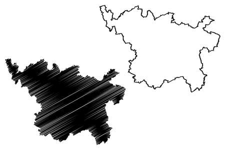 Vulkaneifel district (Federal Republic of Germany, State of Rhineland-Palatinate) map vector illustration, scribble sketch Vulkaneifel map Ilustração