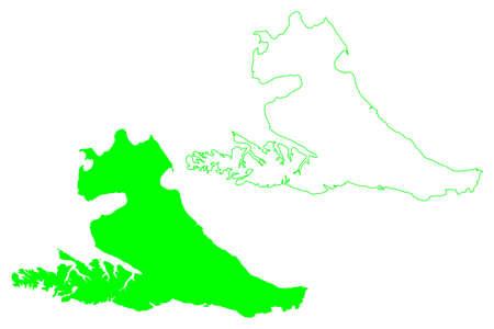 Isla Grande de Tierra del Fuego island (Argentine Republic, Republic of Chile, South and Latin America) map vector illustration, scribble sketch map