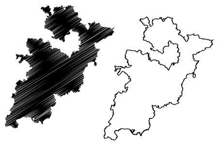 Wartburgkreis district (Federal Republic of Germany, rural district, Free State of Thuringia) map vector illustration, scribble sketch Wartburgkreis map Ilustração
