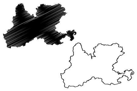 Waldshut district (Federal Republic of Germany, rural district, Baden-Wurttemberg State) map vector illustration, scribble sketch Waldshut map Ilustração