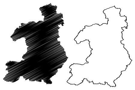 Waldeck-Frankenberg district (Federal Republic of Germany, rural district Kassel region, State of Hessen, Hesse, Hessia) map vector illustration, scribble sketch Waldeck Frankenberg map