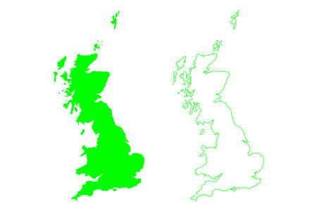 Great Britain island (Kingdom of Great Britain, British Isles, England, Scotland, Wales) map vector illustration, scribble sketch map