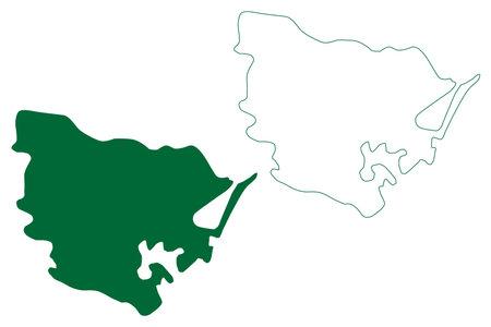 Viluppuram district (Tamil Nadu State, Republic of India) map vector illustration, scribble sketch Vizhuppuram map