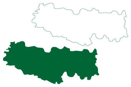 Kamareddy district (Telangana State, Republic of India) map vector illustration, scribble sketch Kamareddy map