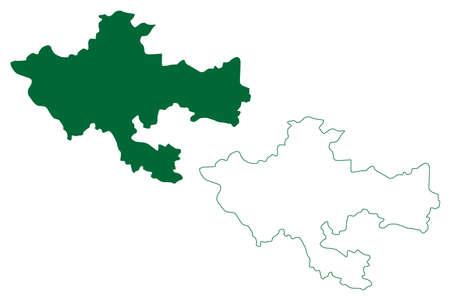 Khammam district (Telangana State, Republic of India) map vector illustration, scribble sketch Khammam map