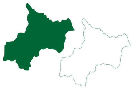 Jayashankar Bhupalpally district (Telangana State, Republic of India) map vector illustration, scribble sketch Jayashankar Bhupalpally map