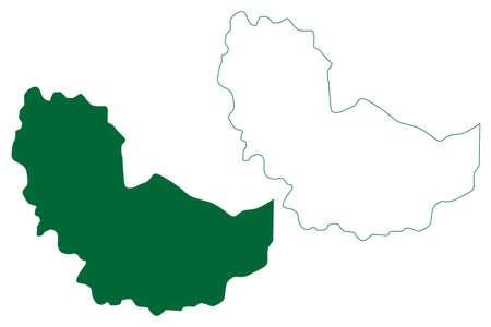 Karimnagar district (Telangana State, Republic of India) map vector illustration, scribble sketch Karimnagar map Ilustração