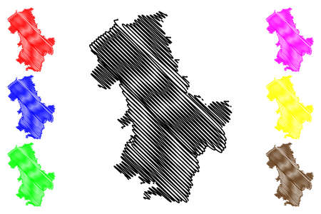 Duren district (Federal Republic of Germany, State of North Rhine-Westphalia, NRW, Cologne region) map vector illustration, scribble sketch Duren map 일러스트