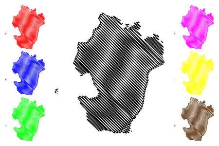 Dithmarschen district (Federal Republic of Germany, rural district, Free State of Schleswig-Holstein, Slesvig Holsten) map vector illustration, scribble sketch Dithmarschen map