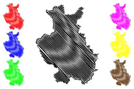 Detmold region (Federal Republic of Germany, State of North Rhine-Westphalia, NRW, Landschaftsverband Westfalen-Lippe) map vector illustration, scribble sketch Detmold map